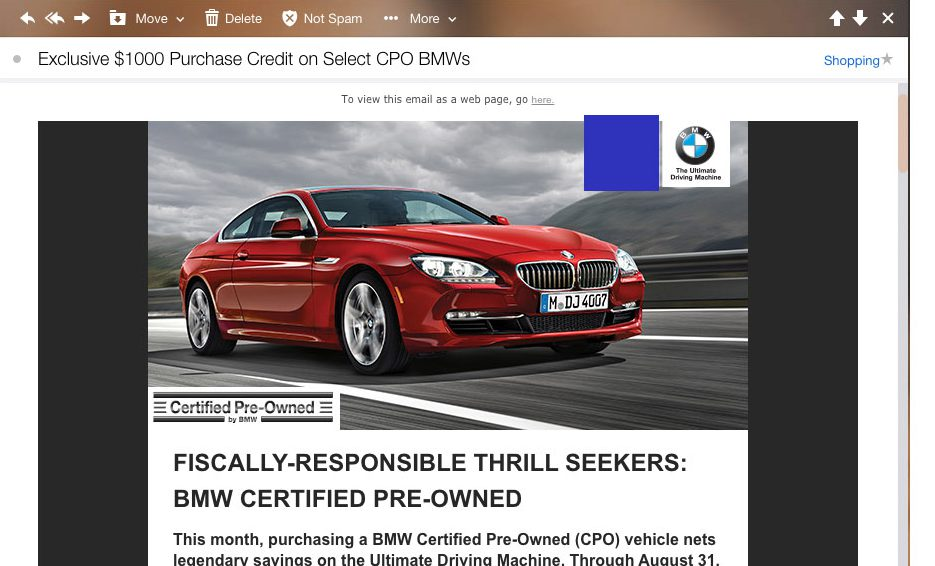 example of bmw email with red sedan sports bmw
